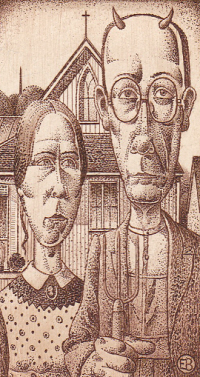 Grant Wood - American Gothic - by Erhard Beitz