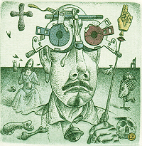 Selfportrait in style of Salvador Dali - by Erhard Beitz